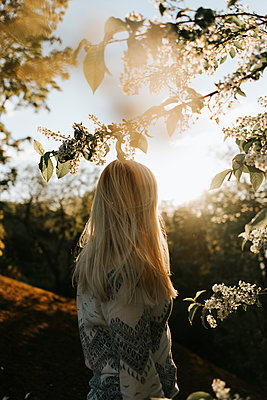 Blonde woman under blossoming tree at sunset - p1507m2172038 by Emma Grann