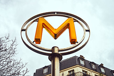Illuminated Sign of a subway station in Paris - p1312m2164023 by Axel Killian