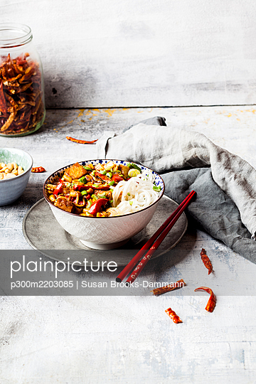 Vegan Kung Pao with tofu, capsicum, peanuts, rice noodles - p300m2203085 by Susan Brooks-Dammann