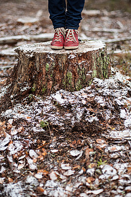 Woman standing on a tree stump - p971m947650 by Reilika Landen