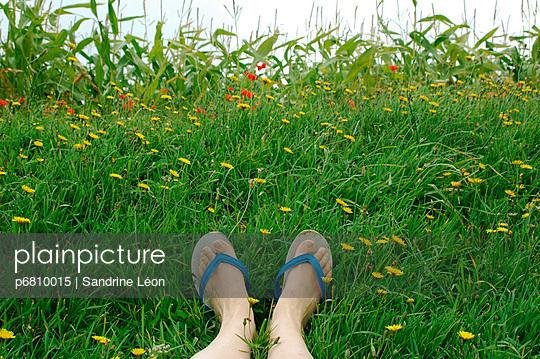 Feet and flip flops - p6810015 by Sandrine Léon