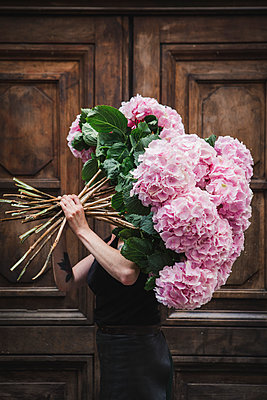 Woman carrying bunch of hydrangeas - p1150m2076415 by Elise Ortiou Campion