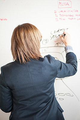 Businesswoman writing on whiteboard in office - p555m1409651 by Shestock