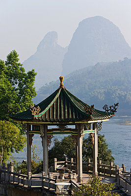 Temple and li river in yangshuo - p9246161f by Image Source