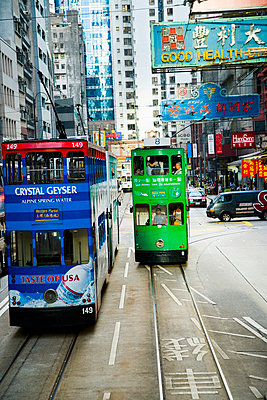Double-decker trams; Hong Kong Island, China - p442m839956 by Naki Kouyioumtzis
