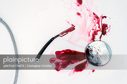 Blood in the shower - p947m2176872 by Cristopher Civitillo