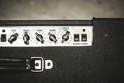 Detail of Guitar Amplifier Knobs and Switches - p694m1106599 by Eric Schwortz
