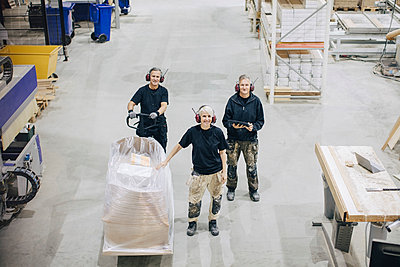 High angle portrait of workers standing with pallet jack at industry - p426m1537036 by Maskot