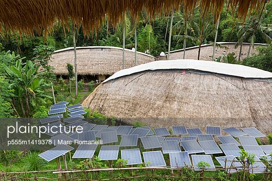Solar panels in tropical garden