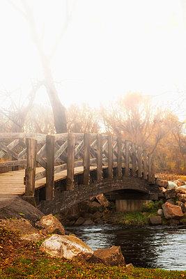 Wood Bridge over River - p1331m1203335 by Margie Hurwich