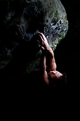 An Italian climber opens a bouldering project in Ibbenburen, Germany. - p1424m1501594 by Kamil Tamiola