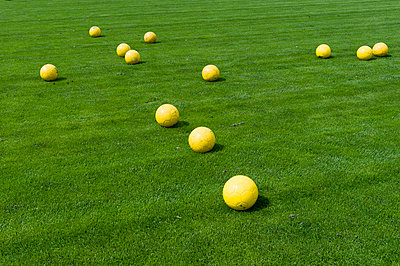 Many yellow soccer balls on the grass - p1025m780514f by Björn Andrén
