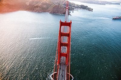 High angle view of Golden Gate Bridge over sea. - p1166m1230531 by Cavan Images