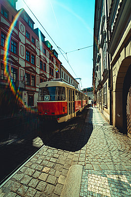 View of tram driving on street in Prague city - p623m2271896 by Pablo Camacho