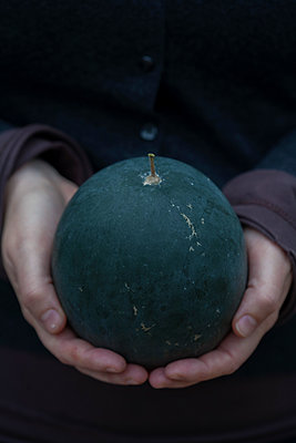 Hands Holding A Watermelon  - p847m1529503 by Elisbeth Edén
