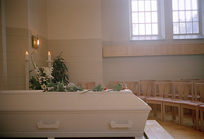 A white coffin at a funeral Harnosand Sweden - p5280088f by Jenny Gaulitz