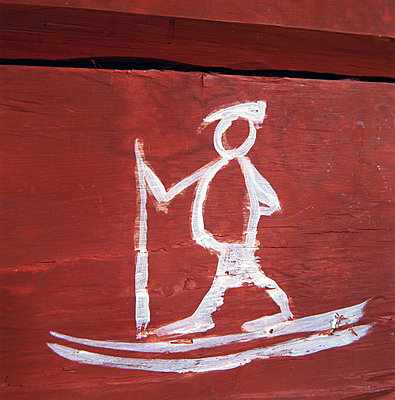 Painted skier on a wall Sweden - p5750068f by Kate Karrberg