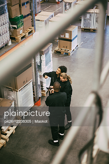 Female and male colleagues examining packages while standing in logistics warehouse - p426m2238305 by Maskot