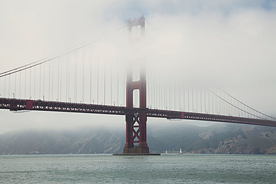 Golden Gate Bridge in fog I - p495m833348 by Jeanene Scott