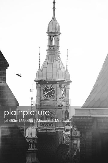 Blick auf Uhrturm des alten Speicherstadt-Rathaus über den Dächern der Speicherstadt, Hamburg - p1493m1584459 von Alexander Mertsch