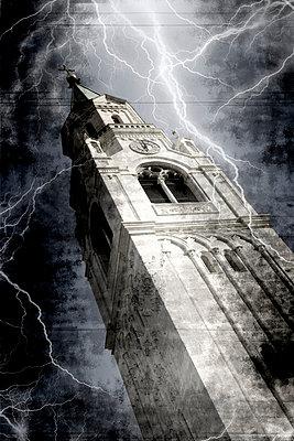 Kirchturm im Gewitter - p9790394 von Weber-Decker