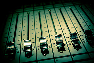 Mixing console detail  - p1057m1444644 by Stephen Shepherd