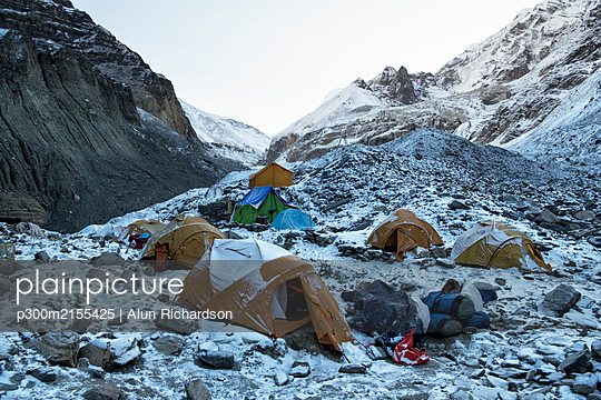 Swiss Camp, Chonbarden Glacier, Dhaulagiri Circuit Trek, Himalaya, Nepal - p300m2155425 by Alun Richardson
