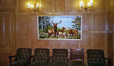 Wildlife painting with deers on panelled wall - p1484m2289107 by Céline Nieszawer