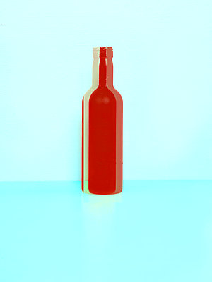 Red bottle - p1413m2065213 by Pupa Neumann