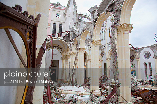 ruins of the catholic cathedral of our lady of the assumption after the earthquake; port-au-prince, haiti