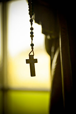 Crucifix on hanging prayer beads - p1072m905463 by Neville Mountford-Hoare