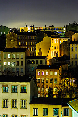 Town of Lyon at night - p910m1467724 by Philippe Lesprit