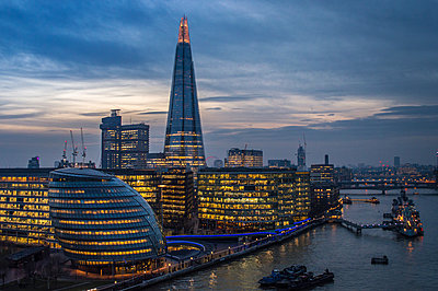 View of the shard from the Tower bridge - p1072m1022088 by Jamie Kamaz