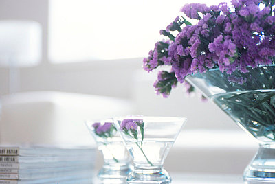 Purple Flowers In Glass Bowls  - p307m660323f by AFLO