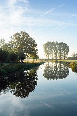 River Mark in early morning sunlight, Netherlands - p429m2058265 by Mischa Keijser