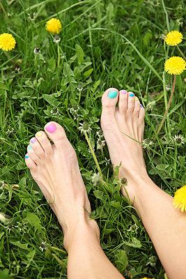 Bunt lackierte Fußnägel - p045m813543 von Jasmin Sander