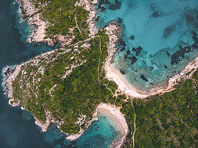 Several beaches and bays, Corfu, aerial view - p1326m2160884 by kemai