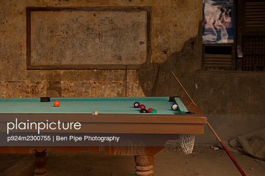 Cambodia, Battambang, Old pool table - p924m2300755 by Ben Pipe Photography