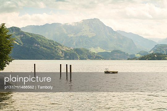 Lake of Lucerne or Vierwaldstaettersee with Jungfrau in the background  - p1332m1488562 by Tamboly