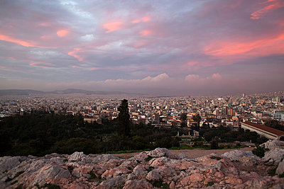 Athens at sunset - p1301m2016050 by Delia Baum