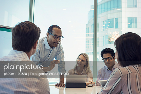 Business people in meeting having interesting discussion