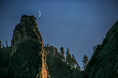 Moon and Tower - p1166m2202307 by Suzanne Stroeer