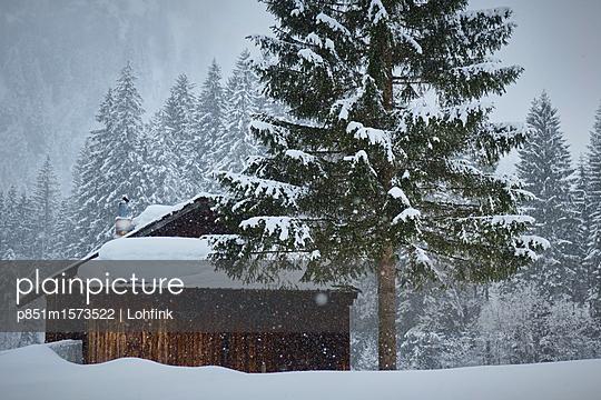 Verschneite Schutzhütte - p851m1573522 von Lohfink
