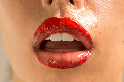 Woman with red lipstick - p1301m1515222 by Delia Baum