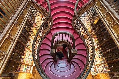 Portugal, Porto, Book store, Livraria Lello with staircase - p1332m2197122 by Tamboly