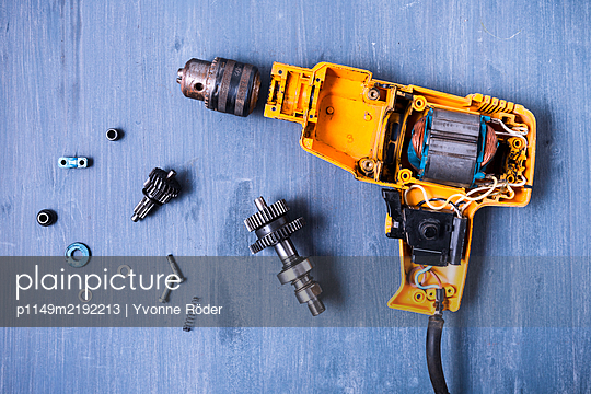 Disassembled drilling machine - p1149m2192213 by Yvonne Röder