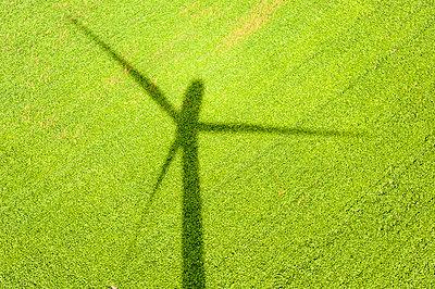 Schatten einer Windkraftanlage auf Rübenfeld - p1079m1042158 von Ulrich Mertens