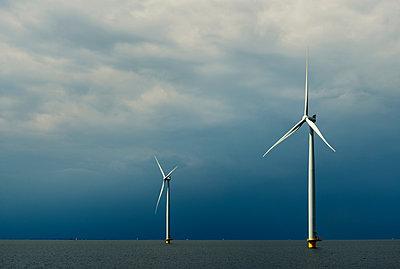 Offshore wind farm, IJsselmeer lake, Espel, Flevopolder, Netherlands - p429m1155521 by Mischa Keijser