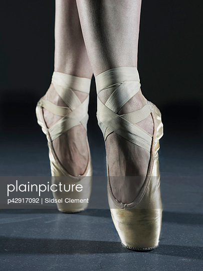 Close up of dancers feet on pointe