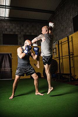 Thai boxers practicing boxing - p1315m1198939 by Wavebreak